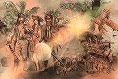 Пираты Иллюстрация нарисованная рукой Чертеж от руки, крася бесплатная иллюстрация