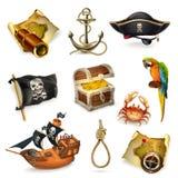 Пираты моря, комплект значка вектора иллюстрация вектора