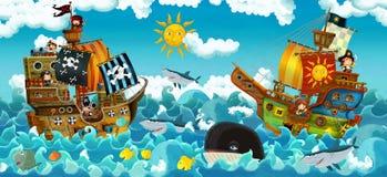 Пираты на море - сражении - иллюстрация для детей Стоковые Изображения