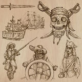 Пираты (нет 5) - нарисованный рукой пакет вектора Стоковые Изображения