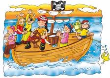 Пираты caravel с штурвалом попугая плавают Стоковое Изображение RF