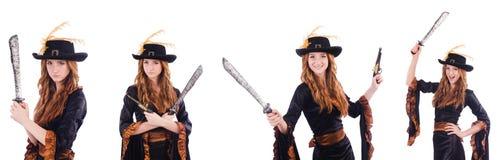 Пират женщины изолированный на белизне Стоковое Изображение RF