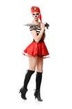Пират женщины с шпагой costume venice масленицы Стоковая Фотография