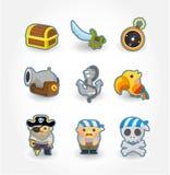 пират иконы шаржа Стоковые Изображения RF