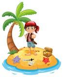 Пират и остров Стоковые Фото