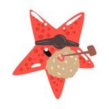 Пират морских звёзд смешного шаржа красный с иллюстрацией вектора характера куря трубы заплаты глаза красочной Стоковые Изображения
