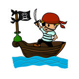 Пират на шлюпке в море Иллюстрация штока
