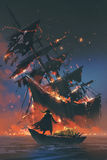 Пират на шлюпке при сокровище смотря тонуть корабль иллюстрация штока