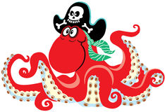 Пират осьминога шаржа иллюстрация штока