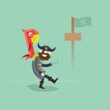 Пират при попугай стоя в порте бесплатная иллюстрация