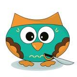 пират Сыч-моря Owlet с саблей в стиле шаржа Изолированный характер на белой предпосылке Стоковые Фото