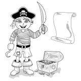 Пират с планом карты Стоковые Изображения