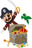 Пират шаржа держа шпагу иллюстрация штока