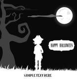 Пират Halloween стоя в свете луны бесплатная иллюстрация