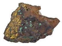 Пирит в минерале малахита изолированном на белизне стоковое фото rf