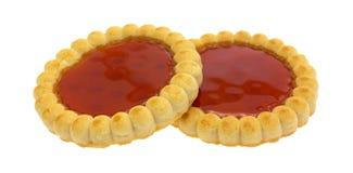 2 пирога заполненных клубникой на белой предпосылке Стоковое Фото