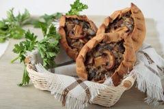 3 пирога рож с champignons и луками Стоковое фото RF