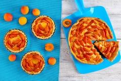 Пироги абрикоса на старом деревянном столе Стоковое фото RF