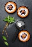 Пироги голубики с свежей мятой Доска мела предпосылки Стоковая Фотография RF