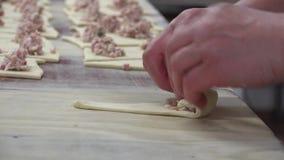 Пироги пекарни и мяса сток-видео