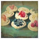 Пироги ягоды на подносе с текстурой Стоковое Изображение