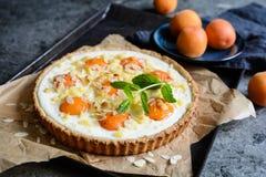 Пирог абрикоса и плавленого сыра покрытый с хлопьями миндалины и крошит Стоковые Изображения RF