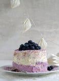 Пирог голубики с плавленым сыром и кокос шелушатся Стоковые Фото
