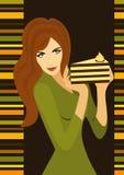 пирог девушки тонкий Стоковая Фотография RF