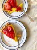 Пирог заварного крема с свежей поливой клубники Стоковая Фотография