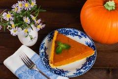 Пирог и цветки тыквы Стоковое Изображение