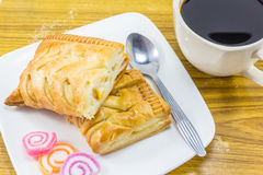 Пирог и чашка кофе мозоли Стоковое Изображение
