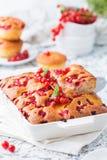 Пирог лета с красной смородиной и персиками в белом керамическом блюде стоковая фотография