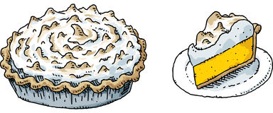 Пирог меренги лимона иллюстрация вектора