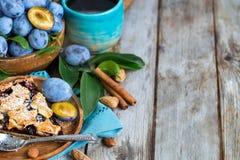 Пирог сливы с предпосылкой cinamon и миндалин Стоковое Изображение