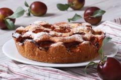 Пирог с рецептом слив от Нью-Йорк Таймс Стоковые Изображения
