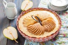 пирог с creme brulee и грушей Стоковые Фото