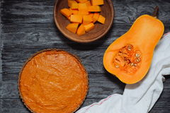 Пирог тыквы, сквош butternut с семенами Стоковые Фотографии RF