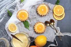Пирог, tartlet с творогом лимона Стоковая Фотография RF