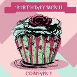 пирожне дня рождения счастливое Крышка меню иллюстрация вектора