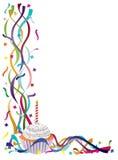 Пирожне дня рождения с тесемками и Confetti бесплатная иллюстрация
