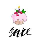 Пирожне дня рождения с горящей свечкой Розовый торт ягоды также вектор иллюстрации притяжки corel иллюстрация вектора