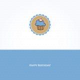 пирожне поздравительой открытки ко дню рождения иллюстрация вектора