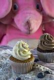 2 пирожного ванильных и шоколада с голубиками и пинком забавляются слон Стоковое Изображение RF
