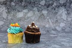 2 пирожного на серой предпосылке Стоковые Изображения