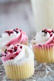 3 пирожного дня валентинок с сердцем брызгают Стоковые Фото