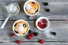 2 пирожного с сладостными ягодами Стоковые Фото