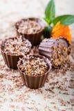 4 пирожного шоколада на белой доске с ноготк зацветают Стоковая Фотография