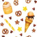 Пирожное акварели, помадки и картина мороженого безшовная, fairy торт изолированный на белой предпосылке Сладостной очень вкусной Стоковая Фотография RF
