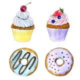 Пирожное акварели руки вычерченные и карта donuts иллюстрация штока