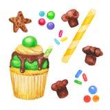 Пирожное акварели, fairy торт изолированный на белой предпосылке Сладостной очень вкусной нарисованная рукой иллюстрация хлебопек Стоковое Фото